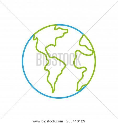 line global earth planet to geography ubication vector illustration