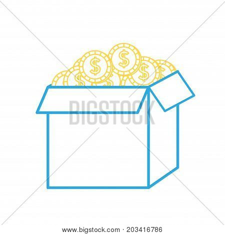 line open box with coins cash money inside vector illustration
