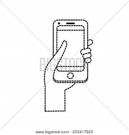 dotted shape technology smartphone in the hand vector illustration