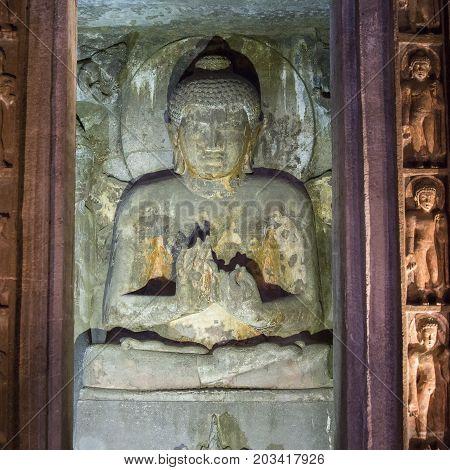 Buddha image in cave of Ellora State of Maharashtra India