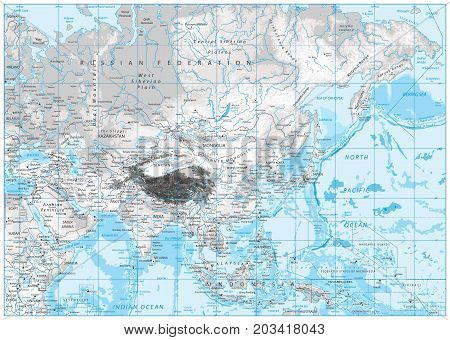 White and grey color physical map of Asia with rivers lakes and elevations.