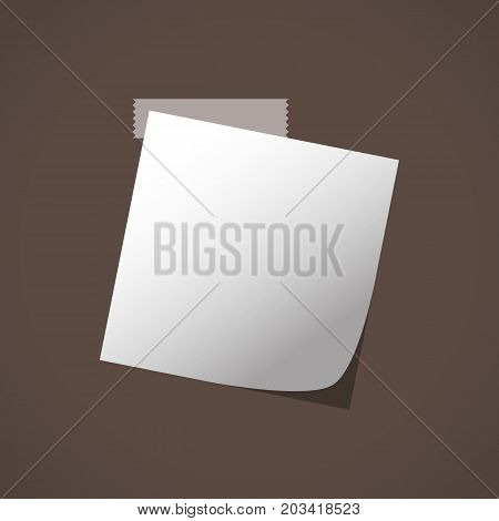 Close up of white note paper reminder on brown background. Vector illustration