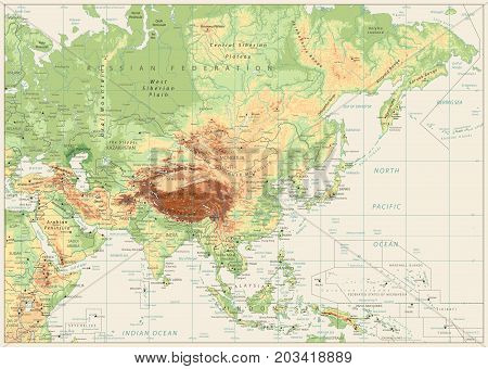Asia Physical Map Retro White with Rivers Lakes and Elevations.