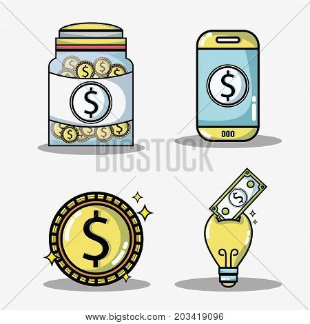 set crowdfunding business money financing vector illustration