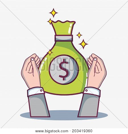 hand with money to crowdfunding business finance vector illustration