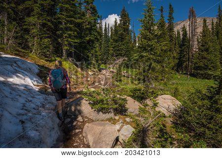 Hiker On A Blue Lake Trail Colorado