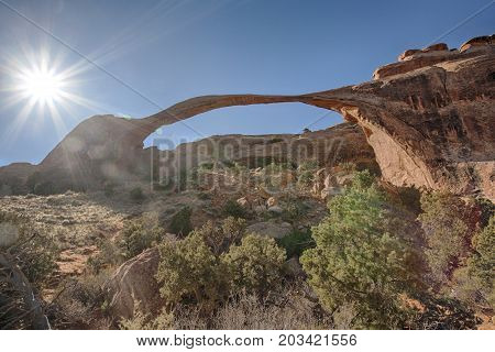 Landscape Arch is the longest of the many natural rock arches located in the Arches National Park in Utah, United States.
