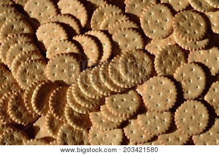 Closeup Of Salted Crackers