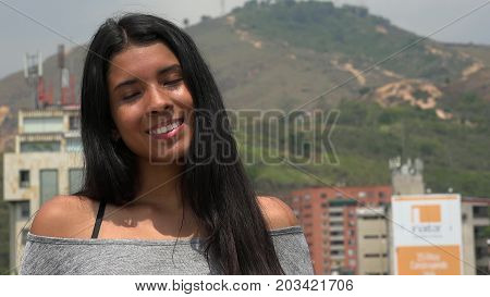 Teen Girl With Eyes Closed with Urban Background