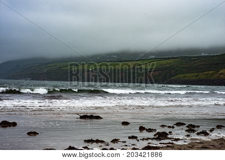 View of Inch Beach on the wild atlantic way in County Kerry, Ireland
