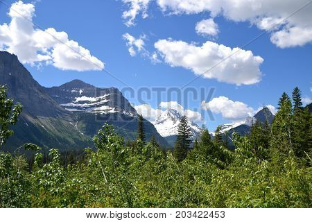 Glacier National park in Montana's is located in the rocky mountains and borders canada