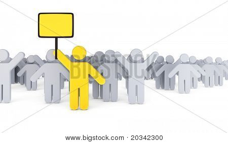 Strike of workers with leader holding placard, 3d rendering