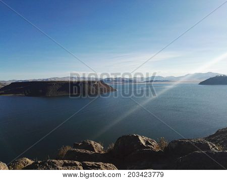 Island located in Sillustani, place where the Inca Puno tombs are found - Peru