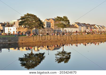 Spanish Arch, Galway, Ireland July 2017 ,  Lots Of People Enjoying A Sunny Day