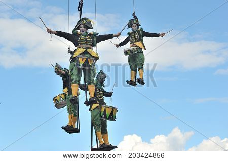 Eire Square, Galway, Ireland July , Art Festival 2017, Mobile Home, Performers Are Lifted 100Ft Into