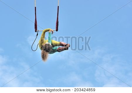 Eire Square, Galway, Ireland July , Art Festival 2017, Mobile Home, Trapeze Girl Artist Hanging With