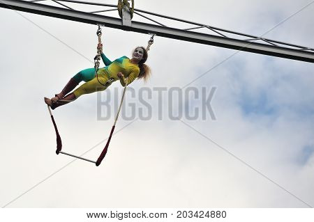Eire Square, Galway, Ireland July , Art Festival 2017, Mobile Home, Trapeze Girl Artist Hanging Int