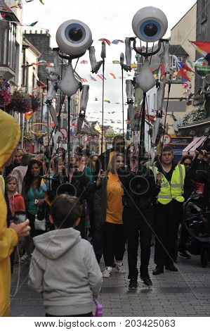 Shop Street, Galway, Ireland July , Art Festival 2017, I-puppets , Full Take Of The Puppets And The