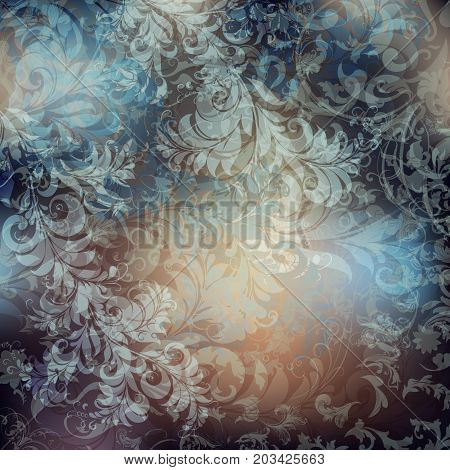 Classic victorian pattern with swirls in vintage style