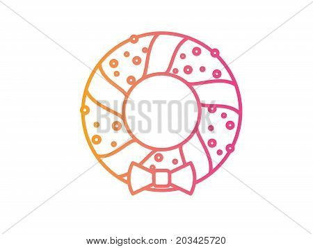 Vector Gradient Christmas Door Wreath Decoration Line Icon