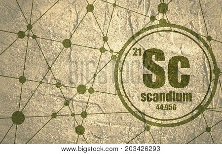 Scandium chemical element. Sign with atomic number and atomic weight. Chemical element of periodic table. Molecule And Communication Background. Connected lines with dots. Grunge distress texture.