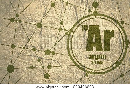Argon chemical element. Sign with atomic number and atomic weight. Chemical element of periodic table. Molecule And Communication Background. Connected lines with dots. Grunge distress texture.