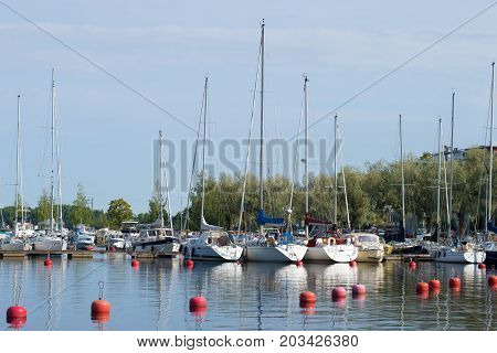 LAPPEENRANTA, FINLAND - AUGUST 21, 2016: Yachts in the August morning on the Saimaa lake