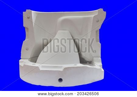 white mould for ceramic slip casting production process ; toilet bowl selective focus