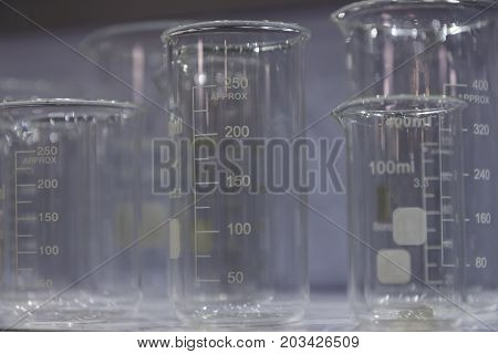 A Group of empty beakers ; Laboratory glassware