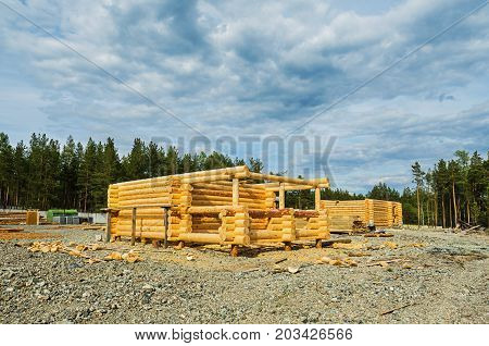 Area to build houses from a bar on a summer day