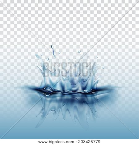Blue transparent water splash with reflection blue water drops and ripple isolated, illustration vector