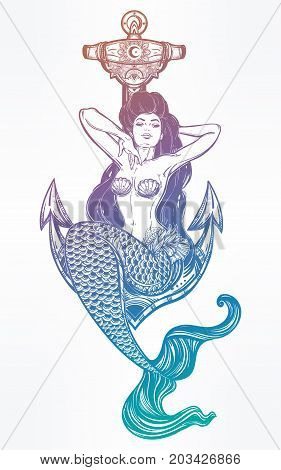 Hand drawn artwork of beautiful mermaid girl sitting on anchor. Graceful ocean siren in retro style. Sea, fantasy, spirituality, mythology, tattoo art, coloring books. Isolated vector illustration.
