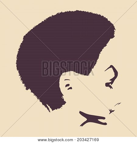 Little Girl Profile Silhouette. Vector Illustration. Cute Adolescent Girl Portrait. Short Hair. Side View