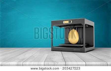 3d rendering of a black 3d-printer standing on a wooden table with a finished golden egg inside it. New production types. Ideas and inventions. Prototyping.