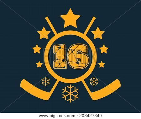 16 number vector illustration. Classic style Sport Team font. Numbers decorated by lines and dots pattern. Ice Hockey Emblem