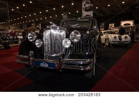 MAASTRICHT NETHERLANDS - JANUARY 08 2015: Oldtimer Jaguar Mark V Saloon 1949. International Exhibition InterClassics & Topmobiel 2015