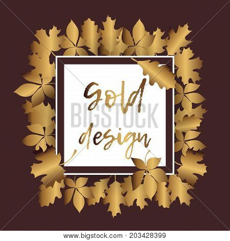 Gold leaves pattern white background. Autum gold leaves.
