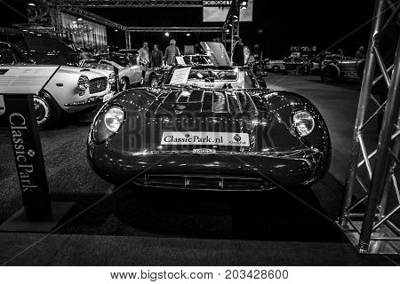 MAASTRICHT NETHERLANDS - JANUARY 08 2015: Race car Jaguar XJ13 by Proteus (replica). Black and white. International Exhibition InterClassics & Topmobiel 2015