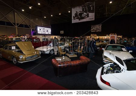 MAASTRICHT NETHERLANDS - JANUARY 08 2015: The main pavilion exhibition complex. International Exhibition InterClassics & Topmobiel 2015