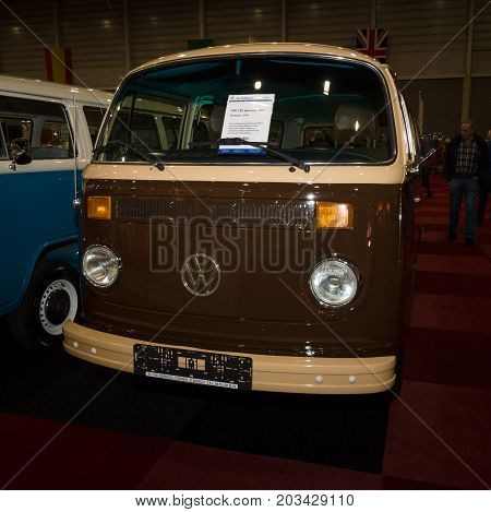 MAASTRICHT NETHERLANDS - JANUARY 08 2015: Minibus Volkswagen T2b (Late Bay). International Exhibition InterClassics & Topmobiel 2015