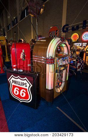 MAASTRICHT NETHERLANDS - JANUARY 08 2015: Vintage jukeboxes. International Exhibition InterClassics & Topmobiel 2015