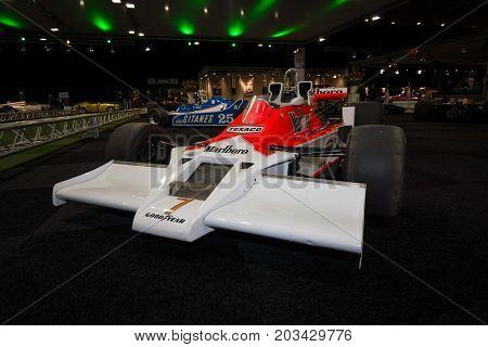 MAASTRICHT NETHERLANDS - JANUARY 08 2015: Formula One car McLaren M26 designed by Gordon Coppuck 1977. International Exhibition InterClassics & Topmobiel 2015