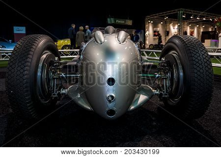 MAASTRICHT NETHERLANDS - JANUARY 08 2015: The Grand Prix racing car Auto Union Type A 1934. Rear view. International Exhibition InterClassics & Topmobiel 2015