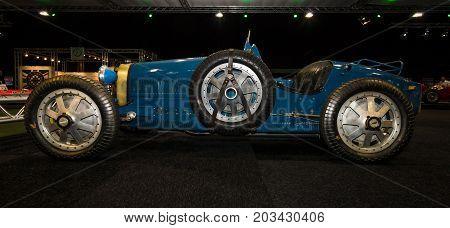 MAASTRICHT NETHERLANDS - JANUARY 08 2015: Racing car Bugatti Type 37 1928. International Exhibition InterClassics & Topmobiel 2015