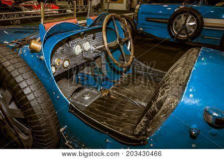 MAASTRICHT NETHERLANDS - JANUARY 08 2015: Cabin of a Touring Car Bugatti Type 37. Toning. Stylization. International Exhibition InterClassics & Topmobiel 2015