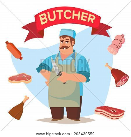 Classic Butcher Vector. Professional Butcher Man With Meat Cleaver. For Meat Market Advertising Concept. Eco Farm Organic Market Meat. Cartoon Isolated Illustration.