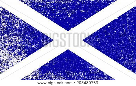 The official flag for Scotland Part of the United Kingdom of Great Britain in white grunge style.