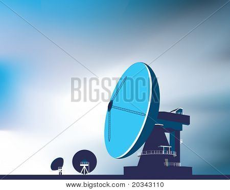 communication huge satellite dishes used to look into space and communicate with satellites