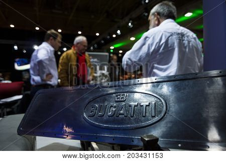 MAASTRICHT NETHERLANDS - JANUARY 08 2015: Fragment of retro car Bugatti closeup. The exposition of the Belgian company for the restoration of vintage cars Arie-Jean. International Exhibition InterClassics & Topmobiel 2015