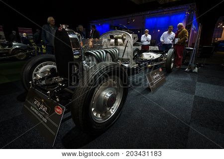 MAASTRICHT NETHERLANDS - JANUARY 08 2015: Exposition of the Belgian company for the restoration of vintage cars Arie-Jean. International Exhibition InterClassics & Topmobiel 2015